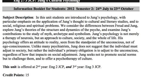 "David Tacey's Curriculum Outline/ Syllabus ""Jung's Cultural Psychology"""
