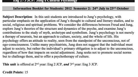"""David Tacey's Curriculum Outline/ Syllabus """"Jung's Cultural Psychology"""""""