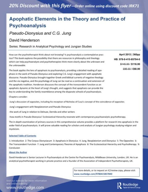 Apophatic Elements in the Theory and Practice of Psychoanalaysis
