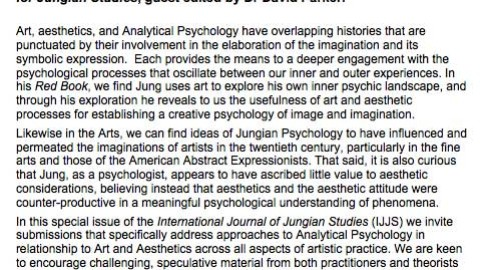 Call for Papers – 'Art, Aesthetics, and Analytical Psychology'