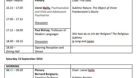 A Joint Jung/Lacan Conference – The Notion of the Sublime in Creativity and Destruction