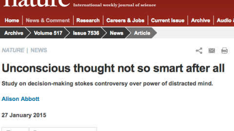 Unconscious thought not so smart after all…