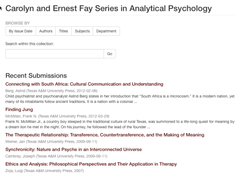 Carolyn and Ernest Fay Series in Analytical Psychology