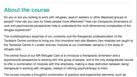 Masters programme in 'Refugee Care' that the University of Essex