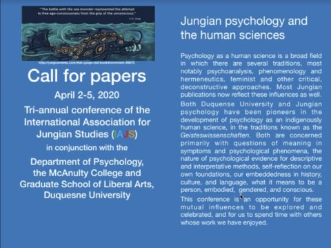 International Association for Jungian Studies 2020 conference to be held jointly with Duquesne University, Pittsburgh, USA
